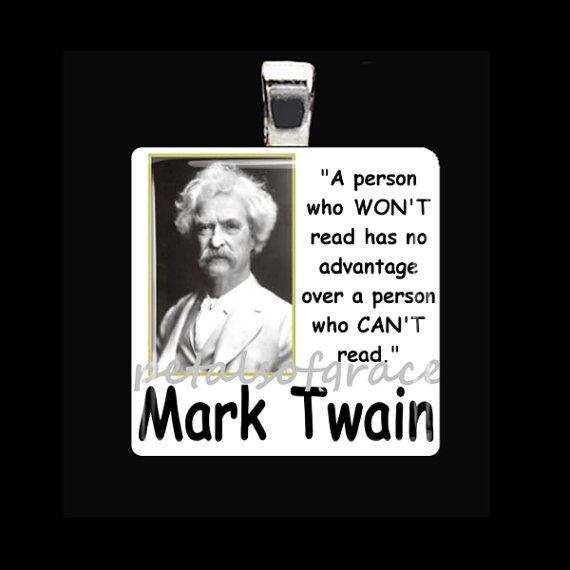 30mm Reading Mark Twain Librarian quote upcycled by petalsofgrace,