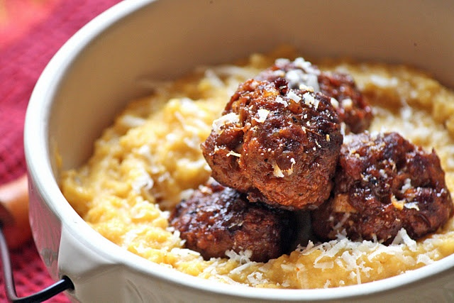 Pumpkin polenta. Here it's paired with chorizo meatballs, but they say ...