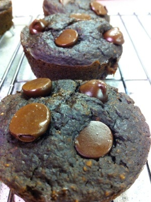Flourless Healthy Dark Chocolate Cherry Muffins