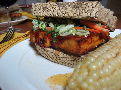 Baked Barbecue Tofu with Pac Choi Slaw and Sweet Corn