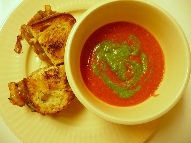 : Grilled Gruyere, Caramelized Onions, Prosciutto, and Pesto Sandwich ...