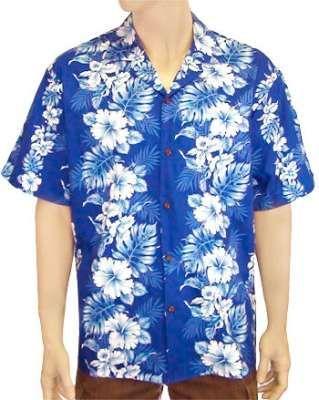 Royal Blue Cotton Shirt Haku Laape Print : Shaka Time Hawaii Clothing