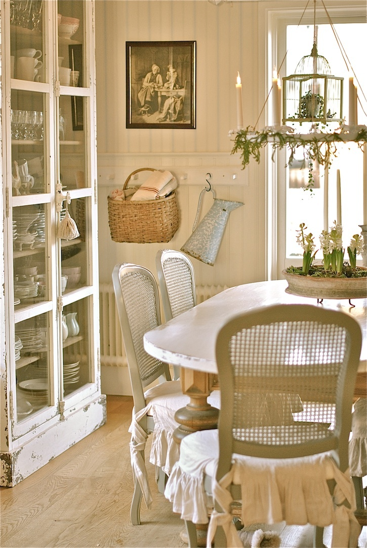 Cozy cottage dining - cabinet display.