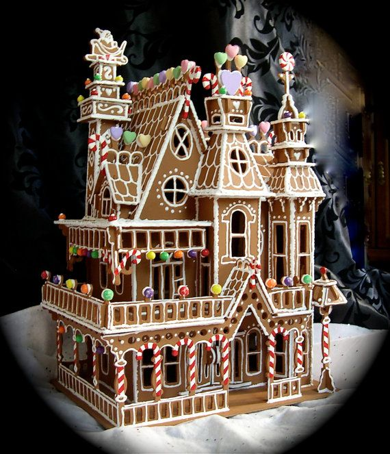 faux gingerbread house in the queen anne style