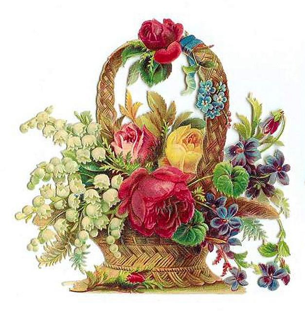 Clipart Flower Baskets : Vintage flower basket clip art