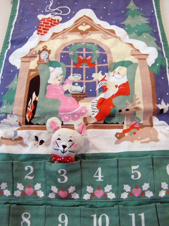 ... Mr. & Mrs. Claus Christmas Pocket Advent Calendar with Mouse via Etsy