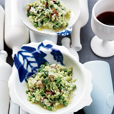 Pea-and-Bacon Risotto, From Food & Wine ~ Baby green peas and pea ...