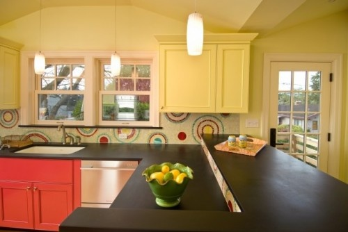 Funky Red, Yellow Aqua backsplash