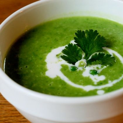 JUNE Green, Green Pea Soup with Ginger and Cilantro