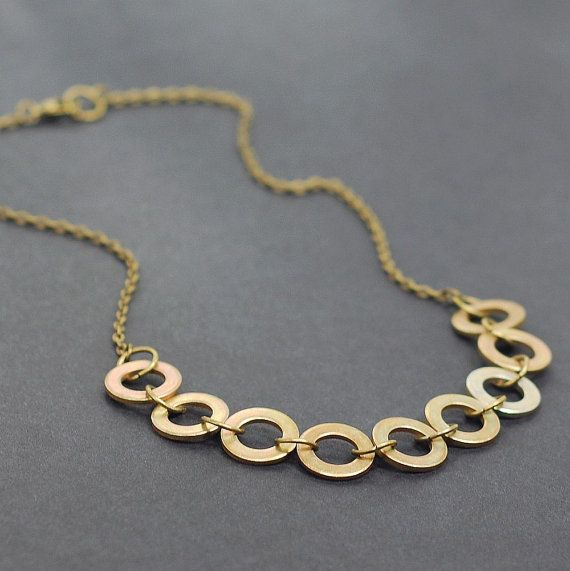 Hardware Jewelry Upcycled Modern Geometric Brass Washer by Tanith, $28.00