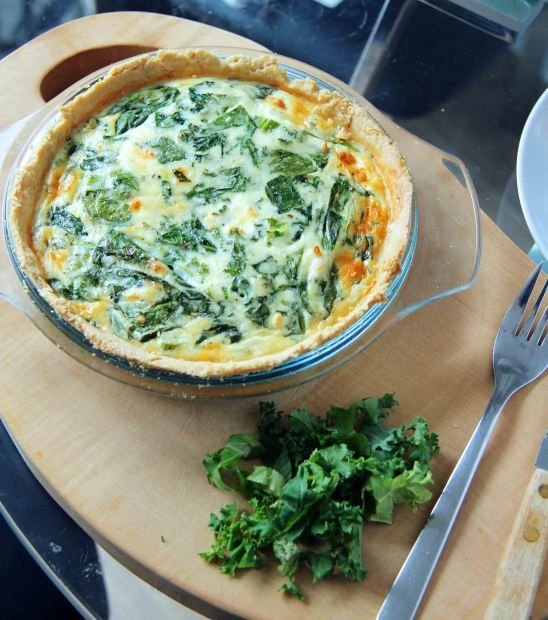 Spinach, kale, and feta quiche. Crust: 1 cup flour, 1/2 stick of ...