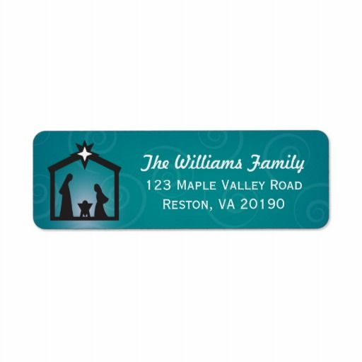 Teal Turquoise Christmas Nativity Address Labels