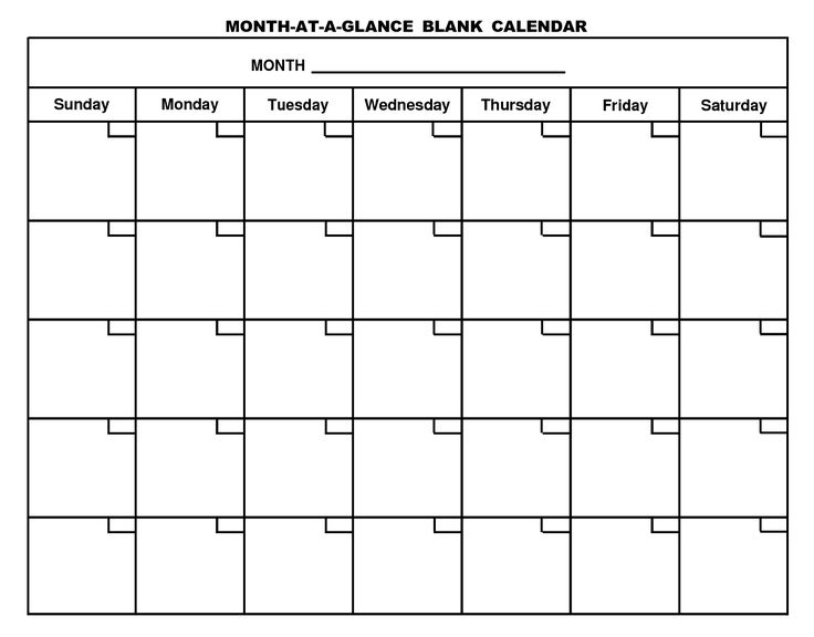 Blank Calendar Template For Kindergarten  Calendar