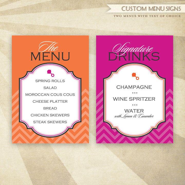 record baby shower custom printable menus pink orange