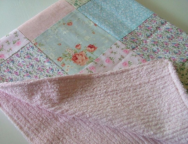 chenille backed patchwork baby blanket....sweet