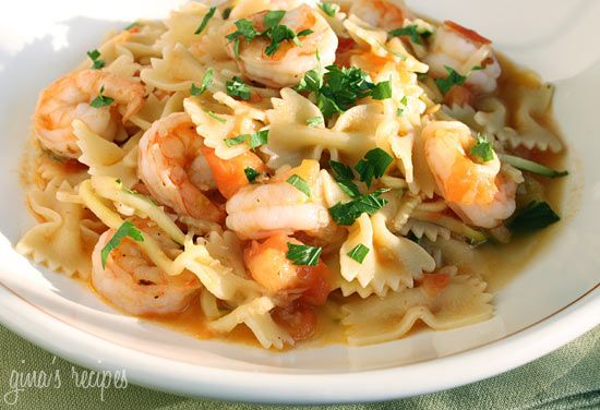 Shrimp and Zucchini with Bowties in Light Tomato Sauce - this is a perfect dish when your summer tomatoes are at their peak.