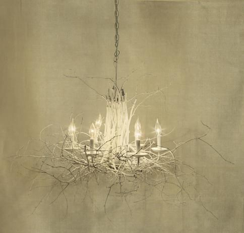 thrift store light fixture is given a budget makeover tree branches
