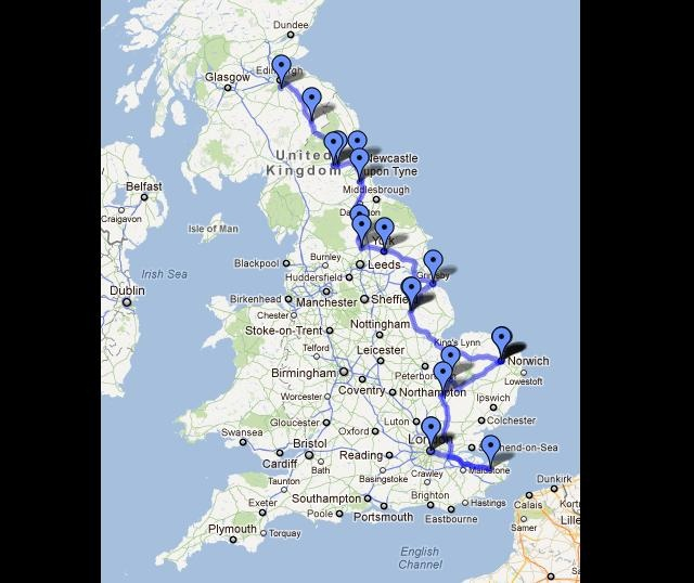 Places To Visit North East Coast England: English Cathedral Trip Map