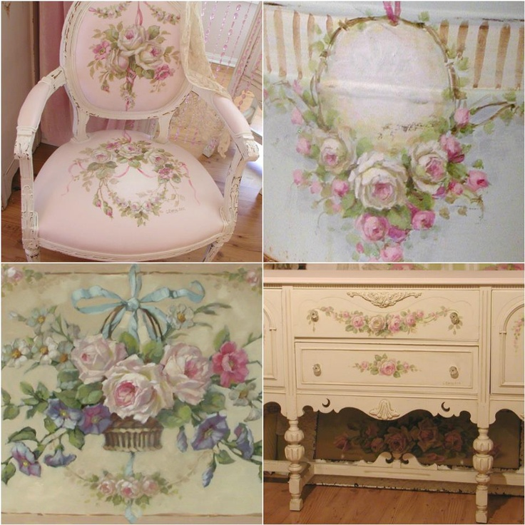Furniture Hand Painted Roses Shabby Chic Pinterest