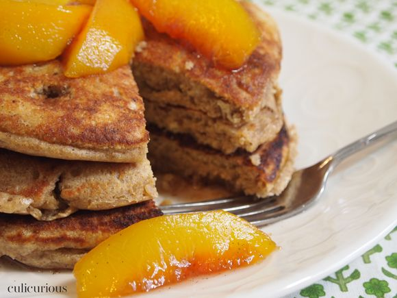 Whole Wheat Pecan Pancakes with Bourbon Vanilla Peaches--- this is ...