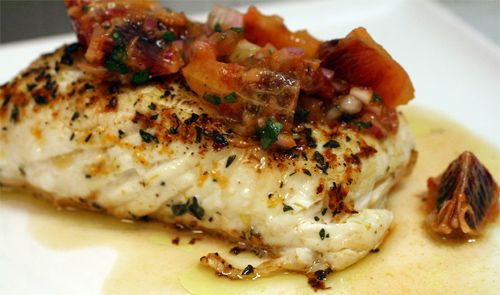 sear-roasted halibut with blood orange salsa. nothing special. didn't ...