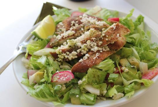 Coriander chicken salad with avocado and jicama Dredging lean chicken ...