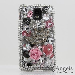 Silver crown jeweled rhinestone diamond case cover for samsung infuse