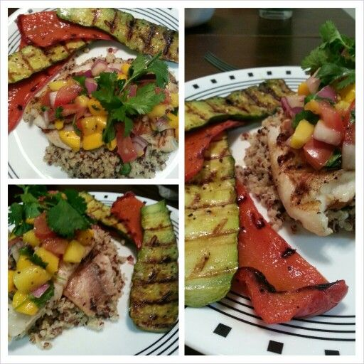 Grilled tilapia with mango salsa and tri color quinoa.