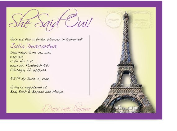She Said Oui French Themed Wedding Shower by morningstarshop, $12.00