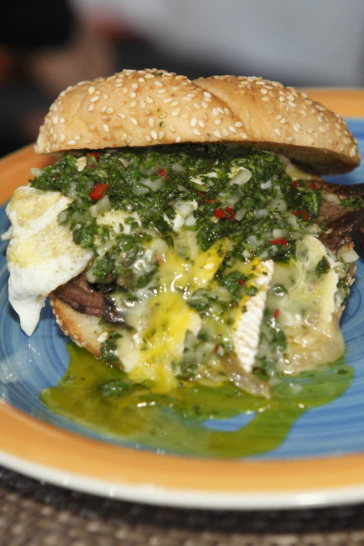 Steak Sandwich with Onions, Camembert, Fried Egg, and Chimichurri ...