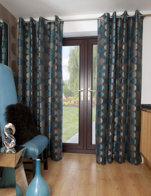 Swatchbox Jasper Teal Eyelet Curtains For The Home