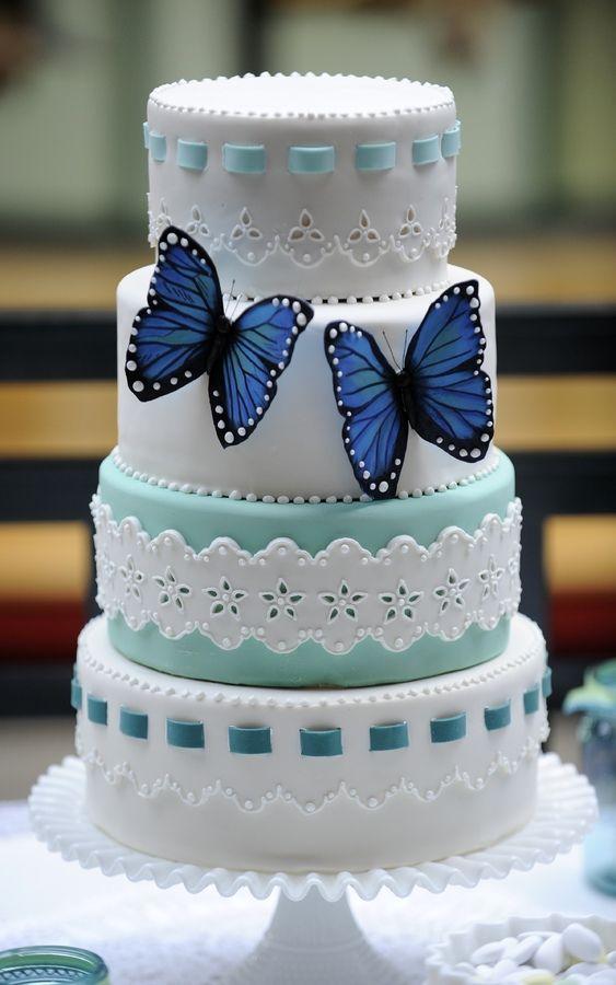 Pretty blue butterflies cake   Butterflies   Pinterest