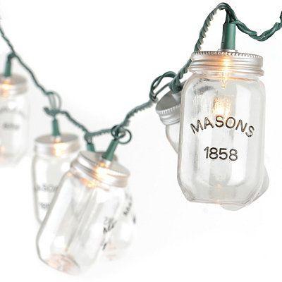 String Lights In A Mason Jar : Mason Jar String Lights Patio lighting Pinterest