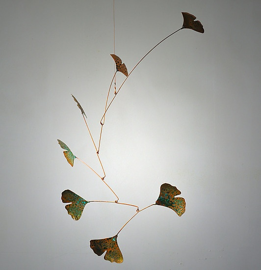 """""""Ginkgo Mobile with 7 Copper Leaves and Green Patina"""" Metal Sculpture by Jay Jones"""