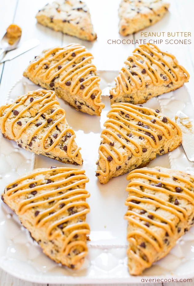 Peanut Butter Chocolate Chip Scones with Peanut Butter Glaze