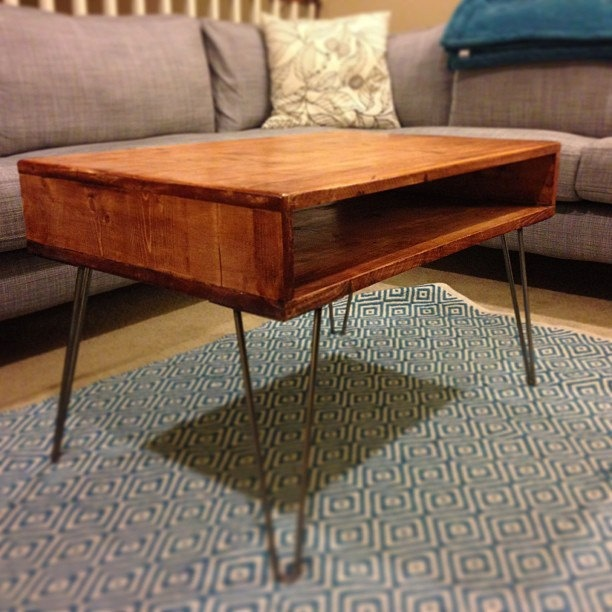 Modern Coffee Table with Hairpin Legs. $250.00, via Etsy.