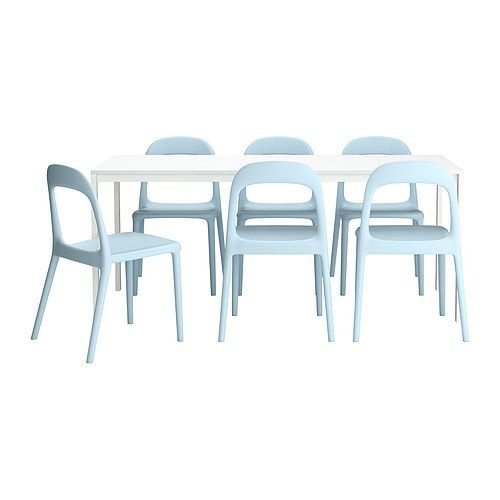 MELLTORP/ URBAN  Table and 6 chairs, white, light blue