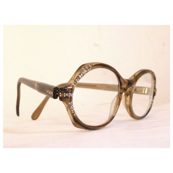 Swank Frame France Mod Brown Rhinestone Eyeglass Frames ...