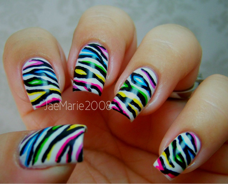 Double Or 2d Effect Zebra Print Nail Design Tutorial Http Www