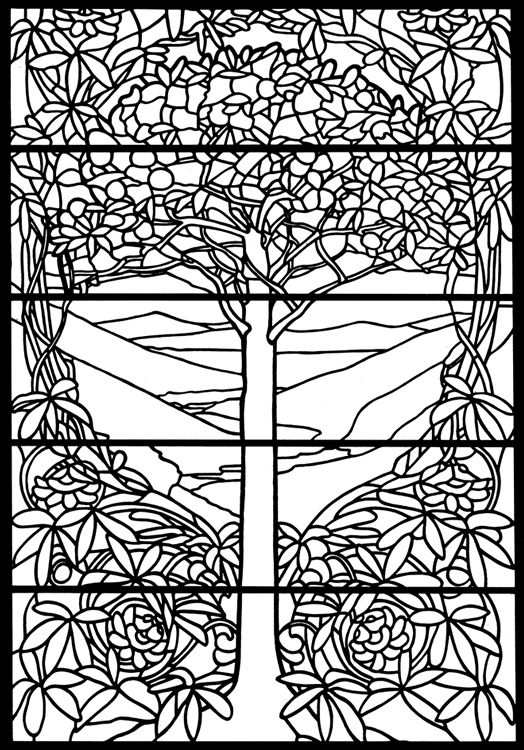 Snow White Stain Glass Coloring Page
