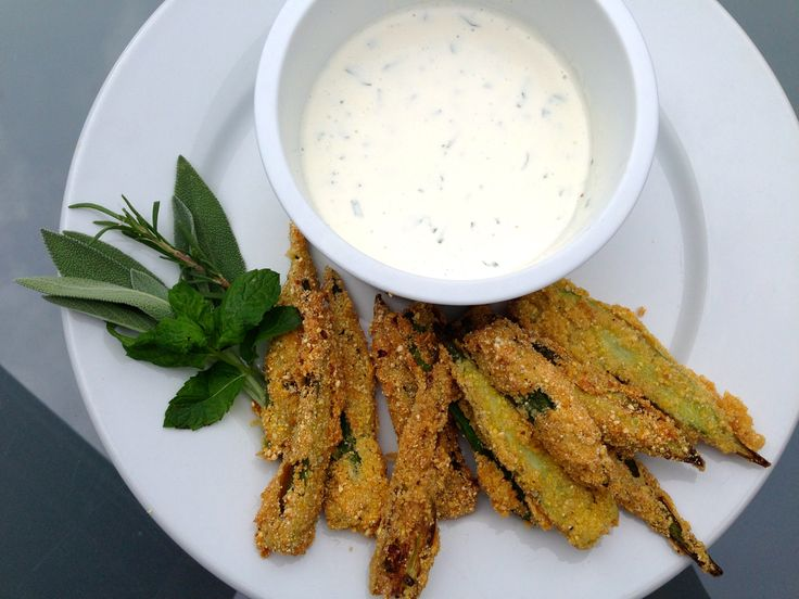 Okra Fries with Garden Herb Aioli | Garden Recipes | Pinterest