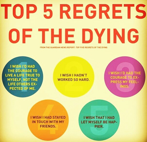 Top 5 regrets of the dying (http://www.aarp.org/relationships/grief-loss/info-02-2012/top-five-regrets-of-the-dying)