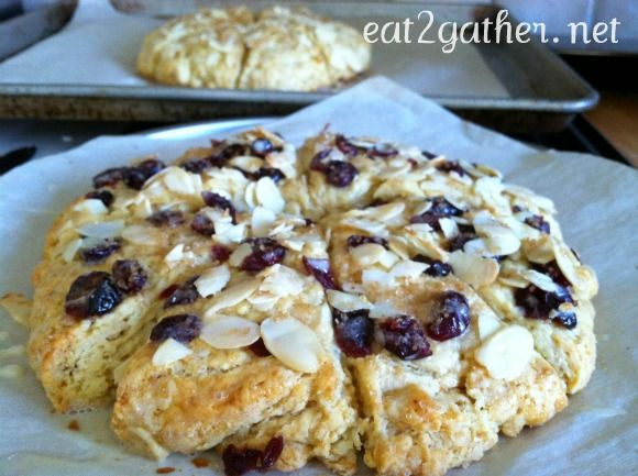 Eggnog cranberry almond scones. delicious, but they are a bit softer ...