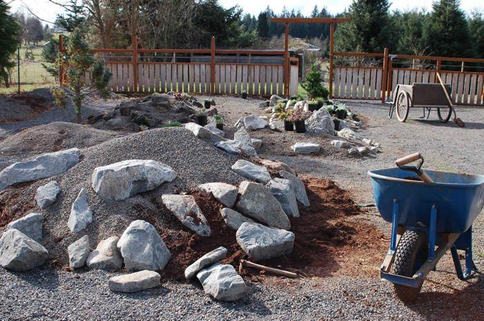 Building rock garden berm garden pinterest for Garden construction