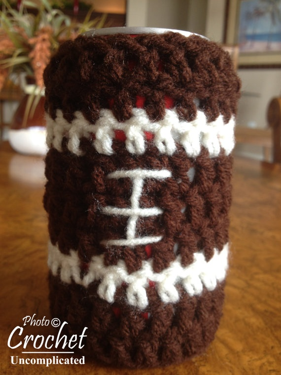 Crochet Koozie : Crochet Football Cozy/Coozie/Koozie PATTERN by CrochetUncomplicated on ...