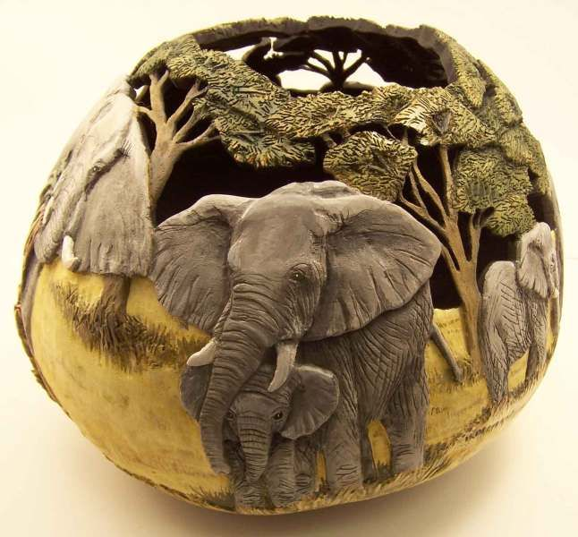 Elephants....By Phyllis Sickles  wow carved gourd art-amazing!!!