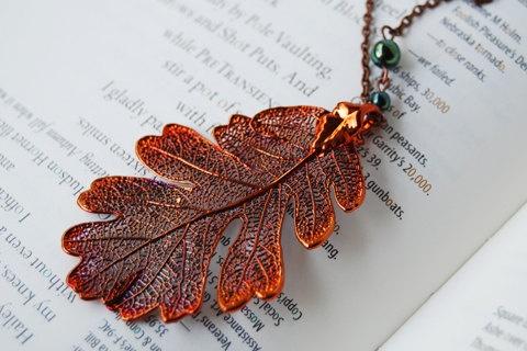 Large fallen copper oak leaf necklace real oak leaf