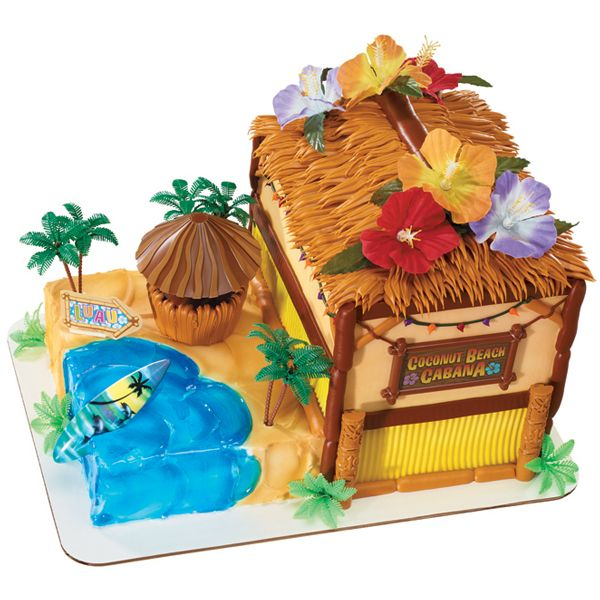 Tiki Hut Birthday Cake