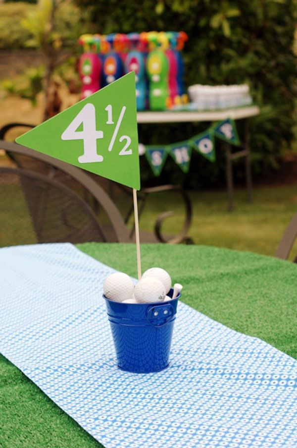 Tee riffic golf ball ideas for Golf centerpiece ideas