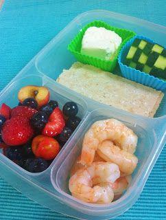 Shrimp, Berry Salad, Wasa Crispbread, Goat Chevre and Cucumber Slices ...